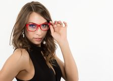 Close-up sexy cute businessgirl in red glasses. fashion and make-up, beauty in business.  Stock Images