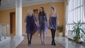 Close up of sexy young chic girls walking ahead and looking at the camera. Three female friends are participating in stock video footage