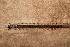 Close up shammy leather texture with zipper Stock Photography