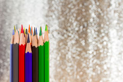 Close up of sharpen color pencils on bokeh background with copy Stock Photography