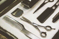 Close up of a shaving kit. And a brush lying on a tray with a white towel. Concept of beauty and haircare Stock Images
