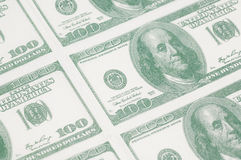 Close-up of a sheet of 100 dollar bills Royalty Free Stock Photos