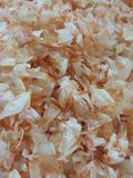 Close up Shell of dried shrimp. Orange and white color Stock Images