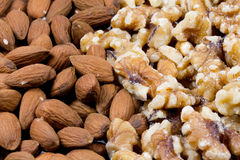 Close up of shelled walnuts  and almonds Stock Photo