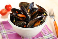 mussels with tomato sauce Royalty Free Stock Photos