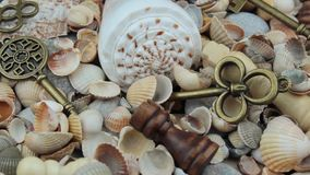 Close up shells, chess and keys stock footage