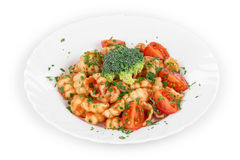 Close up of shells pasta with vegetables. Stock Photo