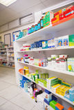 Close up of shelves of drugs Stock Images