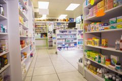 Close up of shelves of drugs Royalty Free Stock Photo