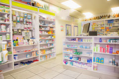 Close up of shelves of drugs Royalty Free Stock Images