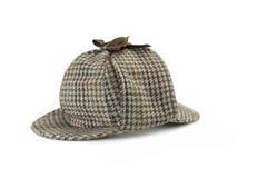 Close-up of Sherlock Holmes Deerstalker Cap Isolated Royalty Free Stock Image