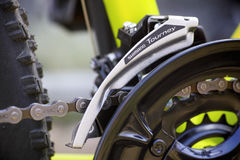 Close-up of Shimano Tourney front derailleur on bicycle chainwhe Royalty Free Stock Photography