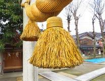 Close up, shimenawa, santuário de Hiyoshi, Nagahama, Japão Fotografia de Stock