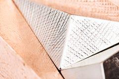 Close up shine metal pyramid royalty free stock photo