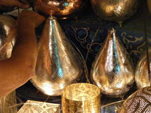 Close up of Shining lanterns in khan el khalili souq market with Arabic handwriting on it in egypt cairo Royalty Free Stock Images