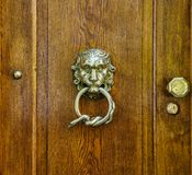Brass doorknocker, lion head and snake loop design. Close-up of a shiny metal lion head with a wound up snake in its mouth, one lock and one door knob on a stock photos