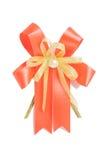 Close up shiny red ribbon bow on white background, season greeti Stock Photography