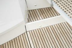 Close up of ship deck made of teak wood. Closeup of ship deck made of teak wood stock image