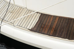 Close up of ship deck made of teak wood Royalty Free Stock Images