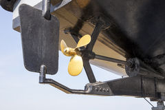 Close up ship propeller and direction command set use in naval v Stock Photos