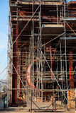 Close up of ship under construction with scaffolding Royalty Free Stock Image