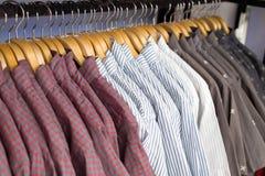 Close up shirt hanging in wardrobe. Royalty Free Stock Photo
