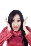 Close up of shock expression in white Stock Photos