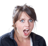 Close-up of shock and surprise expression Royalty Free Stock Photography