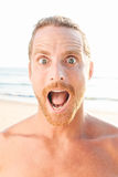 Close up of Shocked Handsome Bare Man Royalty Free Stock Images