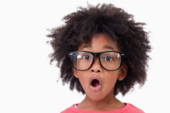 Close up of a shocked smart girl Royalty Free Stock Photos
