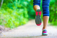 Close-up on shoe of athlete runner woman feet Royalty Free Stock Images