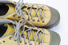 Close up shoelace of engineering boot Royalty Free Stock Images