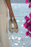 Close-up on the shoes of the bride Stock Photo
