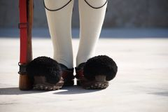 Close-up of shoes of Greek presidential guardsman Royalty Free Stock Image