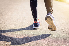 Close up shoes Jogging on the street in the park Stock Photography