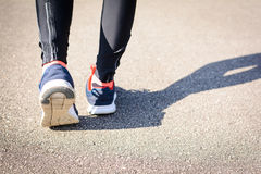 Close up shoes Jogging on the street in the park Stock Images