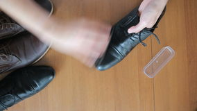 Close up shoes polishing, businessman cleaning shoe, leather material