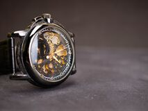 Close up shoot of black skeleton automatic watch