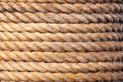 Old sailboat rope background texture. Landscape version. Close up shoot of an old sailboat rope for background and texture purposes. Landscape version stock images