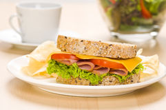 Close-up shoot of a Sandwich with rich Salad Royalty Free Stock Image