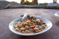 Close-up shoot of traditional Turkish dried beans dinner at sunset time. Photo has taken in Turkey stock photos