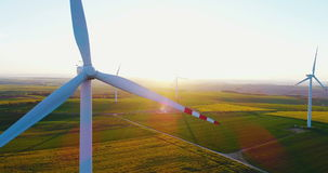 Close up shoot of windmill propeller rotating. Energy Production background. stock video footage