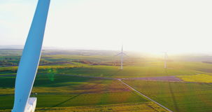 Close up shoot of windmill propeller rotating. Energy Production. Windmill and Wind power technology background. Aerial view on Wind Power, Turbine, Windmill stock video