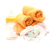 Close-up shooting diapers and milk botte Stock Photo