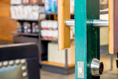 Close up at shop door with blur background Royalty Free Stock Photography
