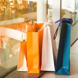 Close up shopping bags on the floor, Shopping, Trend and Lifesty Stock Images