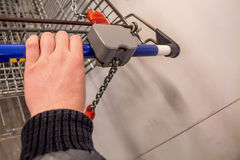 Close up of a shopping cart in supermarket Stock Photography