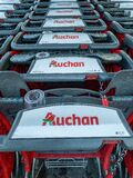 Close-up shopping trolleys Auchan hypermarket