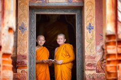 Two novices are standing reading books together in the temple. Royalty Free Stock Image