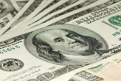 Close-up shot of $100 bills Royalty Free Stock Photography